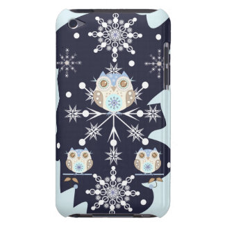 Cute winter Owls and Snowflakes Barely There iPod Case
