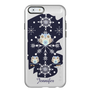 Cute winter Owls and Snowflakes Incipio Feather Shine iPhone 6 Case