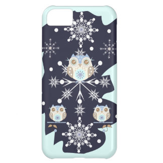 Cute winter Owls and Snowflakes iPhone 5C Cover