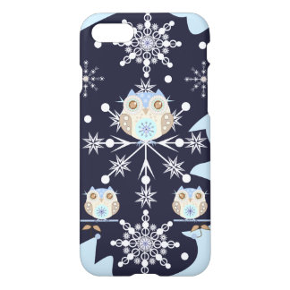Cute winter Owls and Snowflakes iPhone 7 Case