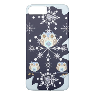 Cute winter Owls and Snowflakes iPhone 7 Plus Case