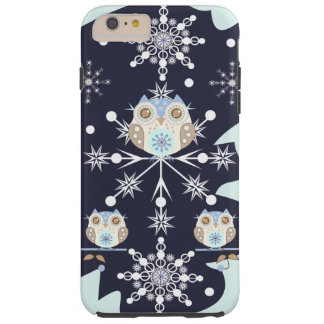 Cute winter Owls and Snowflakes Tough iPhone 6 Plus Case