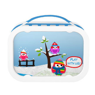 Cute Winter Owls Play Blue yubo Lunch Box