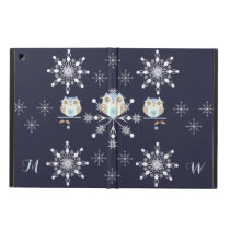 Cute winter Owls, Snowflakes and custom Initials iPad Air Cover