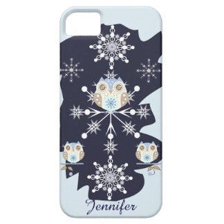 Cute winter Owls, Snowflakes and custom Name iPhone SE/5/5s Case