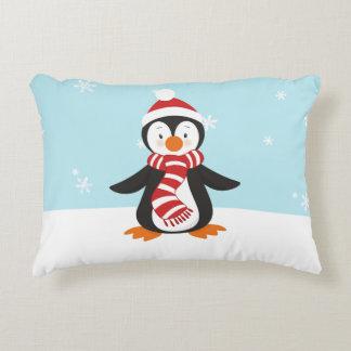 Cute Winter Penguin Accent Pillow