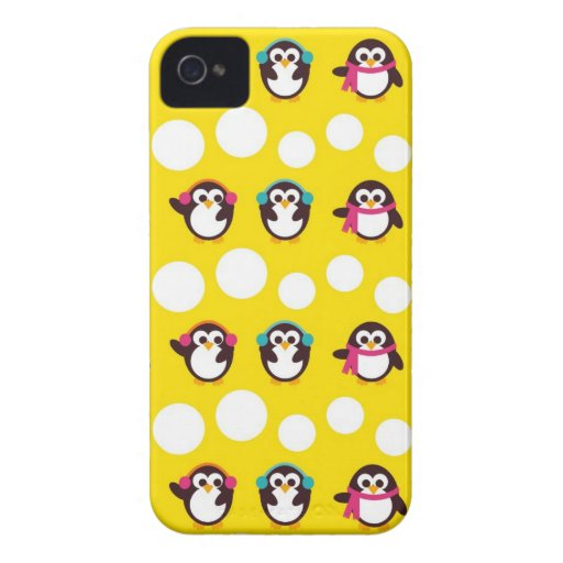cute winter penguins and polka dota pattern iPhone 4 cover