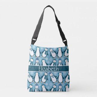 Cute Winter Penguins Design Add Name Crossbody Bag
