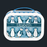 """Cute Winter Penguins Design Add Name Lunch Box<br><div class=""""desc"""">Cute Winter Penguins Design Pattern ready to add a name. Personalize this fun Penguin designed in dark and light blue and white snowflakes. The little happy penguins are ready for the snow and cold winter season with their winter hats, scarves and earmuffs. Designed by &#169;Freepik / edited and modified by...</div>"""