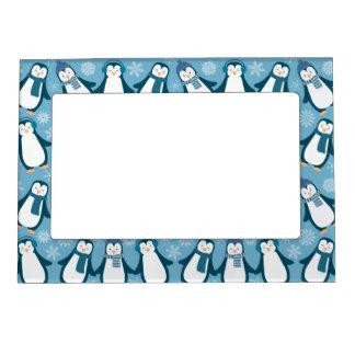 Cute Winter Penguins Design Magnetic Picture Frame