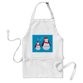 Cute Winter Penquins and Snowflakes Christmas Adult Apron