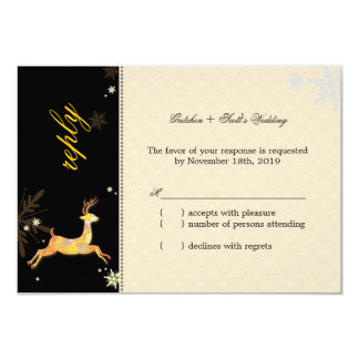 Cute Winter Reindeer Wedding RSVP Card