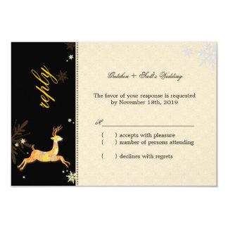 Cute Winter Reindeer Wedding RSVP Card