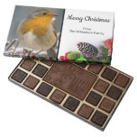 Cute Winter Robin and Bouquet Merry Christmas 45 Piece Box Of Chocolates