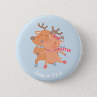 Cute Winter Skating Reindeer Couple Button