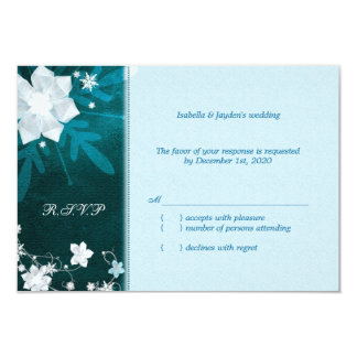 Cute Winter Snow Flowers Wedding RSVP Card