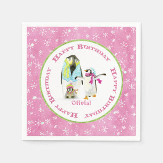 Cute Winter Snow Penguins Birthday Party Girl Pink Paper Napkin