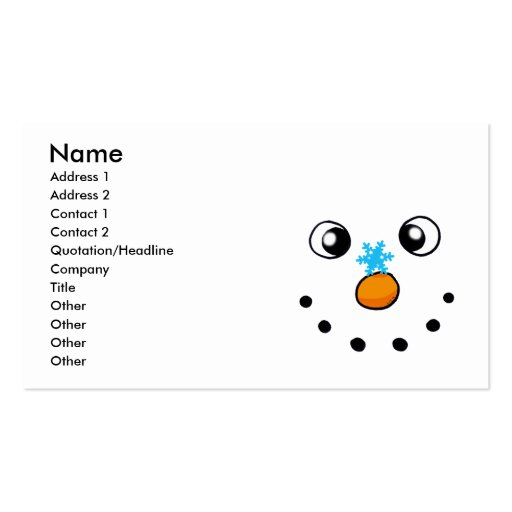 cute winter snowman and snowflake business cards