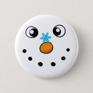 cute winter snowman and snowflake button