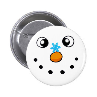 cute winter snowman and snowflake button