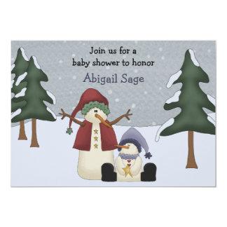 Cute Winter Snowman Boys Baby Shower Card