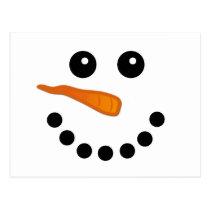 Cute Winter Snowman Face Festive Holidays Cartoon Postcard