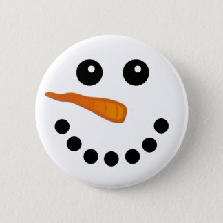 Cute Winter Snowman Face Holiday Pinback Buttons