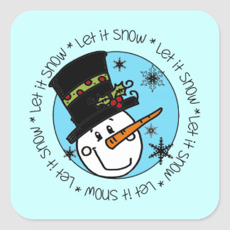 Cute Winter Snowman Let It Snow Square Sticker