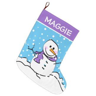 Cute Winter Snowman Personalized Large Christmas Stocking