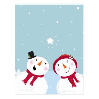 Cute winter Snowmen with Snowgirl Postcard