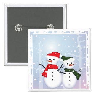 Cute Winter Wonderland  Christmas Snowman 2 Inch Square Button