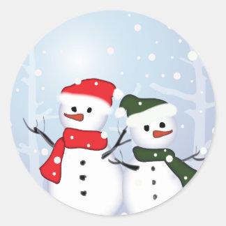 Cute Winter Wonderland  Christmas Snowman Classic Round Sticker
