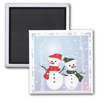 Cute Winter Wonderland  Christmas Snowman 2 Inch Square Magnet