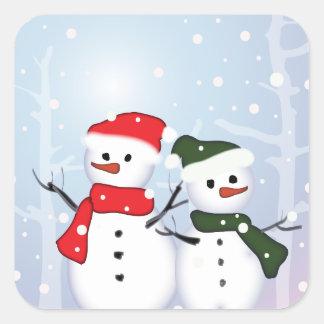 Cute Winter Wonderland  Christmas Snowman Square Sticker