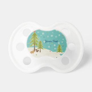 Cute Winter Wonderland Woodland Scene personalized BooginHead Pacifier