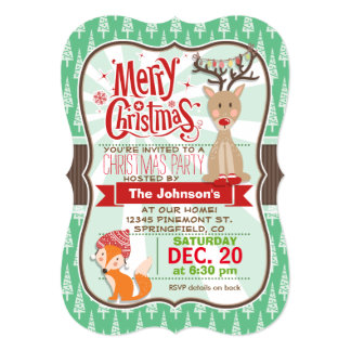 Cute Winter Woodland Animals Christmas Party 5x7 Paper Invitation Card
