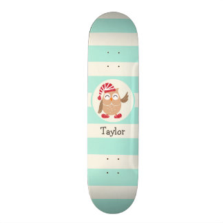 Cute Winter Woodland Christmas Owl; Blue Stripes Skate Deck