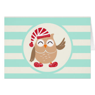 Cute Winter Woodland Christmas Owl; Blue Stripes Stationery Note Card