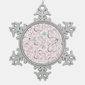 Cute Winter X-mas Pattern C Snowflake Pewter Christmas Ornament