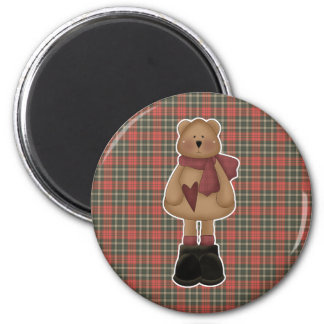cute wintery bear 2 inch round magnet
