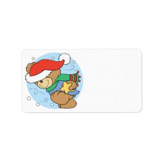 Cute Wintery Christmas Bear Address Label
