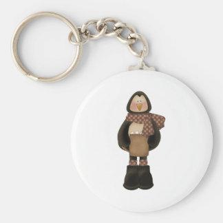 cute wintery penguin basic round button keychain