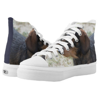 Cute Wire Haired Daschund High-Top Sneakers