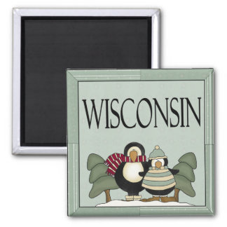 Cute Wisconsin Penguin Magnet Gift