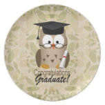 Cute Wise Owl Graduate Dinner Plates
