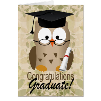 Cute Wise Owl Graduate Greeting Card