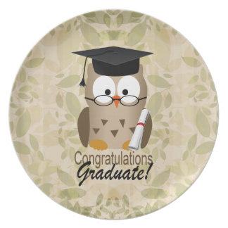 Cute Wise Owl Graduate Melamine Plate