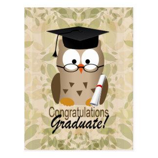 Cute Wise Owl Graduate Postcard