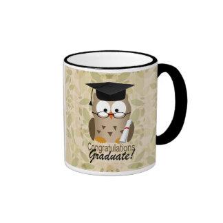Cute Wise Owl Graduate Ringer Coffee Mug