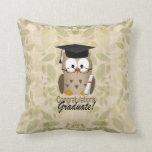 Cute Wise Owl Graduate Throw Pillow